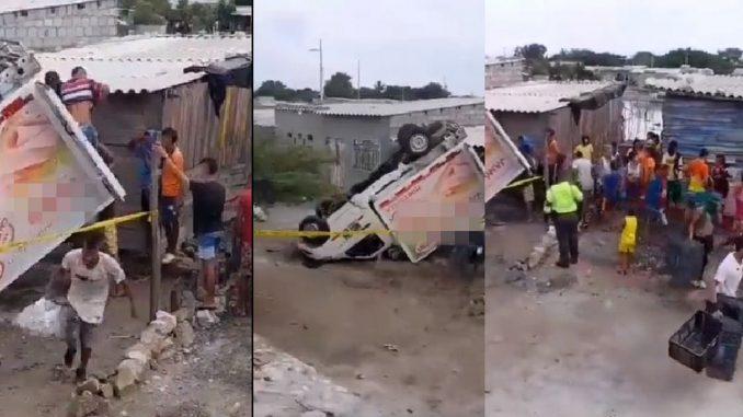 Tasajera: personas llevándose canastas de camión volcado