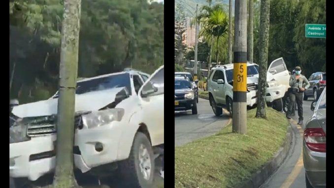 Camioneta se chocó contra un árbol en plena Av. Las Palmas