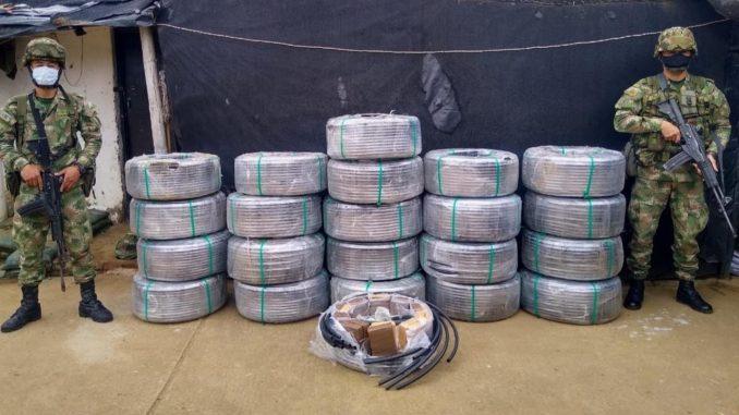 Camuflaron más de 400 kilogramos de marihuana en rollos de manguera