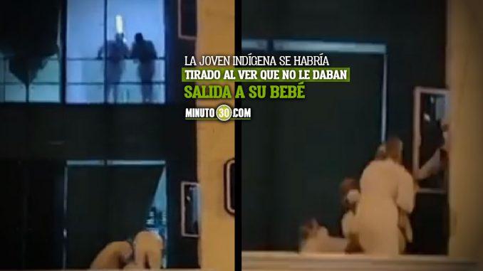 Indígena se tiró con su bebé del tercer piso de un hospital