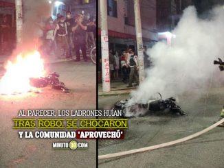 Le quemaron la moto a otros ladrones que se chocaron con un carro