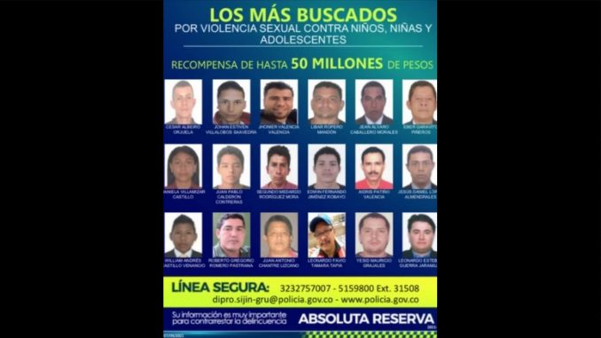Policía publicó los rostros de los más buscados por abuso sexual a niños en Colombia