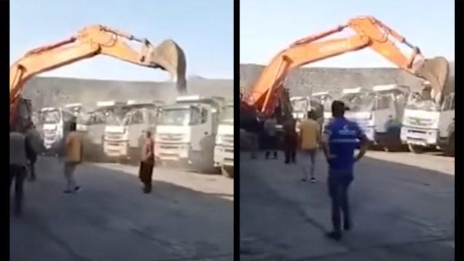 No le pagaron el sueldo y de la rabia destruyó varios camiones con una retroexcavadora