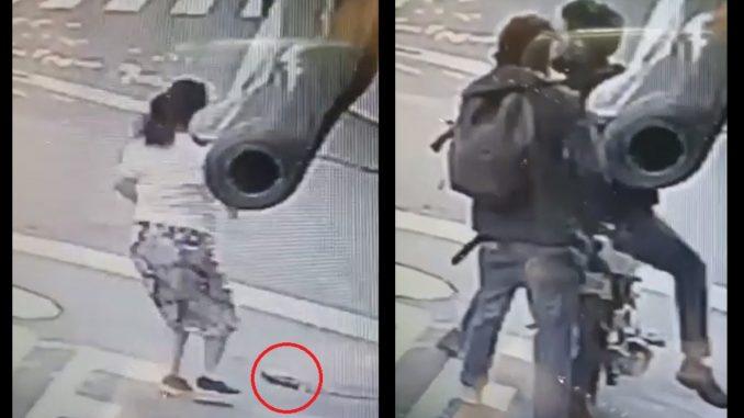 [Video] ¡Muy valiente! En Robledo una señora vio que dos 'ratas' iban a robar a su hijo y les tiró el bolso para defenderlo