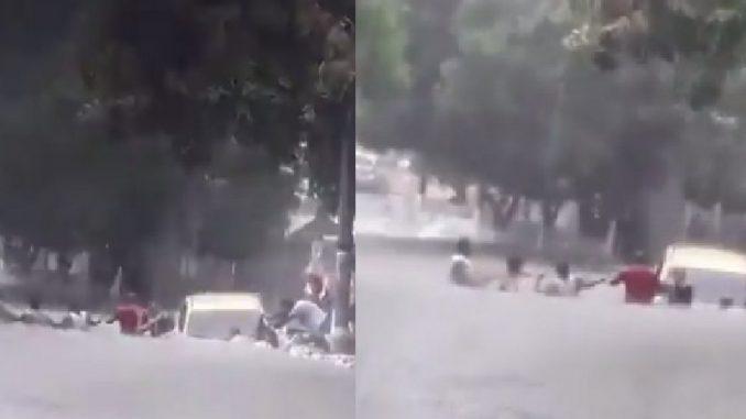Arroyo arrastró un taxi en Barranquilla