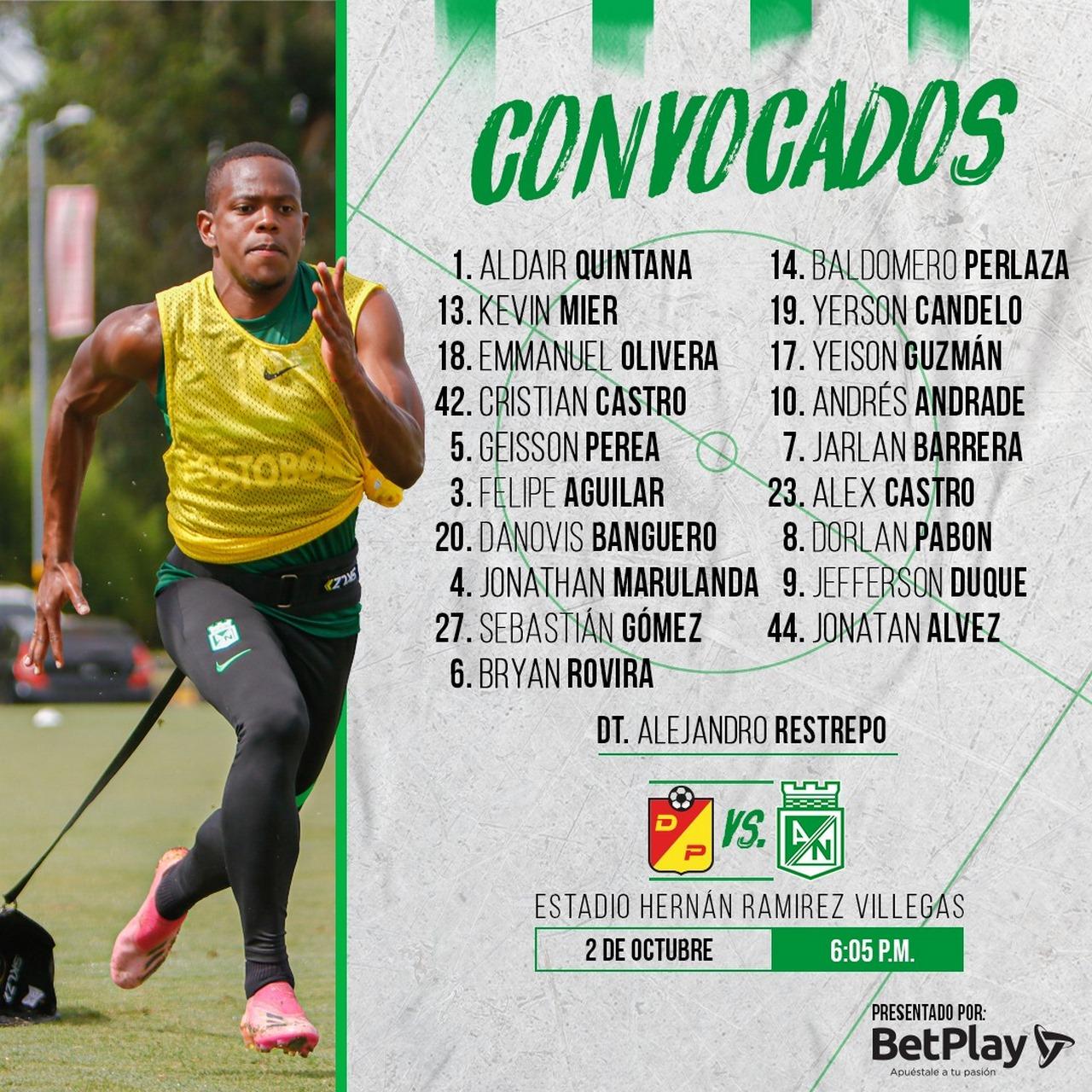 Atletico Nacional revelo grupo viajero hacia Pereira