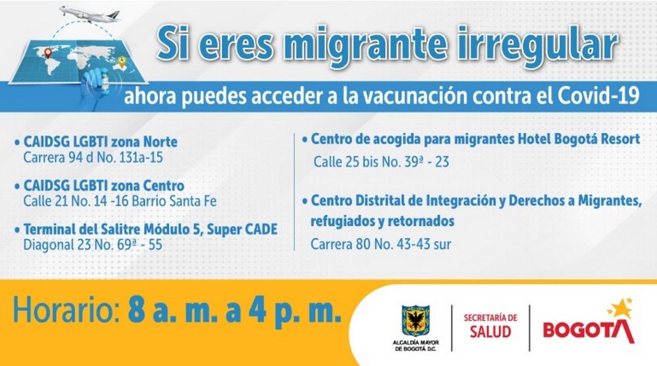 Bogota vacunacion covid 19 migrantes 2021