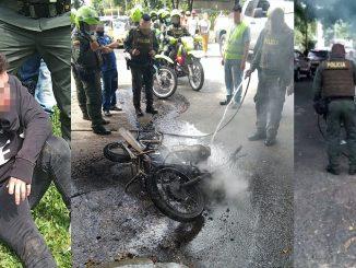 En la 4 sur les dieron 'paloterapia' a un presunto ladrón y hasta le quemaron la moto