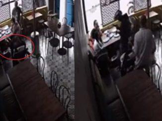 [Video] ¡Demasiado atrevido! Atracó a una familia en un restaurante de Bogotá y hasta esculcó el coche del bebé