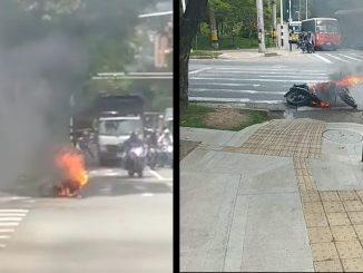 [Video] Le quemaron la moto a presuntos ladrones en La Iguaná