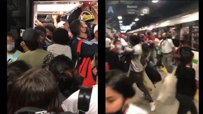 [Video] Pelea en el Metro: empujones y hasta navajazos se vieron en la Estación Ayurá
