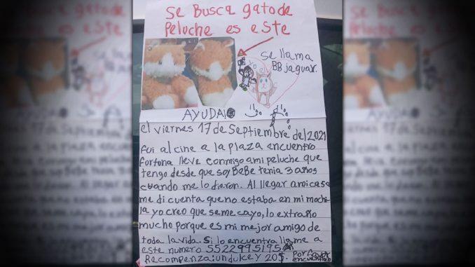¡Qué ternurita! A una niña se le perdió su osito de peluche y ofreció un dulce en recompensa a quien ayude a encontrarlo