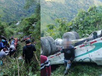 Bus escalera cayó por un abismo en Chaparral, Tolima