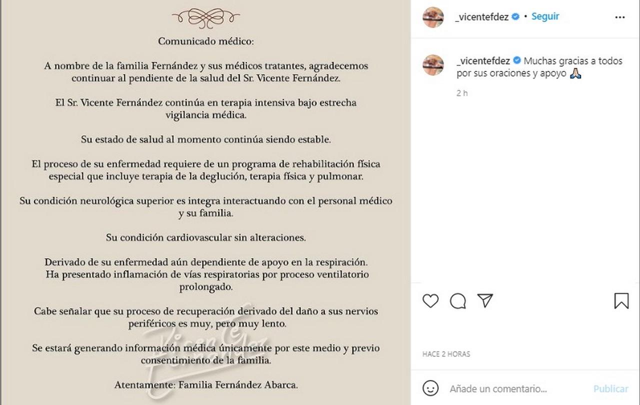 comunicado Vicente Fernandez