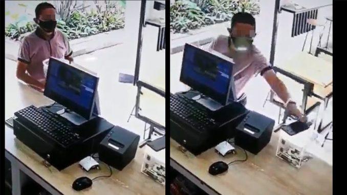 [Video] No de papaya, los ladrones están 'alborotados': Sujeto se robó un celular en un descuido del dueño